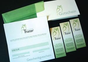 Layout und Ausführung: Gutschein · Lesezeichen · Tüte · Schild