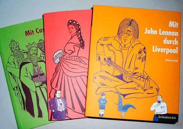 """Coverillustrationen für die Edition """"ReiseGeister"""" aus dem traveldiary.de Reiseliteratur-Verlag Hamburg"""