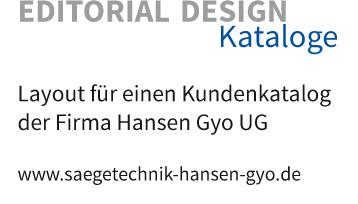 Layout für einen Kundenkatalog der Firma Hansen Gyo UG